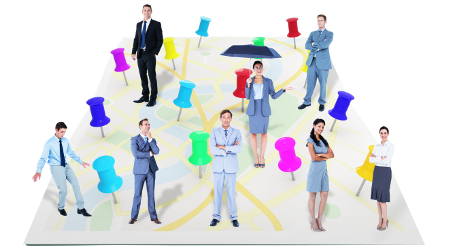 Map with brightly coloured pins and professional business people in various locations